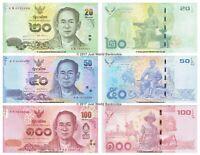 Thailand 20 + 50 + 100 Baht 2012 - 2016 Set of 3 Banknotes King Rama UNC