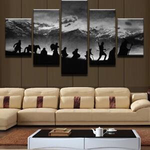 Movie Scene Fellowship Silhouette 5 Panel Canvas Print Wall Art Home Decor