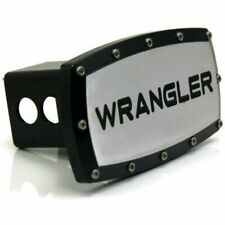 "Jeep Wrangler 2"" Tow Hitch Cover Plug Engraved Billet Black Powder Coated"