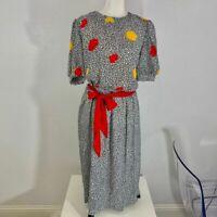 Vintage Jennifer Gee Dress Black/White Print Tie Belt Waist SZ 10