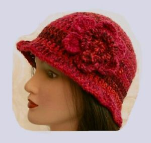LADIES WINTER CHUNKY CLOCHE HAT red floral warm bucket Gatsby woman beanie 14