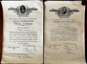Pitman'S Shorthand Institute,Bain,Vitesse Certificat & Théorie Certificat 1933