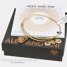 Authentic Alex and Ani Teardrop November Birthstone Rafaelian Gold Bangle