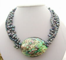 "18"" 4Strds Black Pearl&Paua Abalone Shell Necklace"