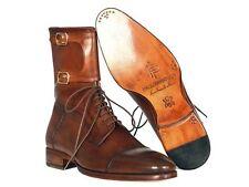 PAUL PARKMAN MEN'S HIGH BOOTS BROWN CALFSKIN (ID#F554-BRW)