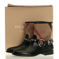 Burberry Queenstead Black Check Leather Bootie Boots - Size 6 US (36 EU)