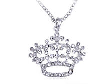 Floral Abstract Bling Diamante Clear Rhinestone Crown Queen Pendant Necklace New
