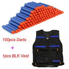 Black Tactical Vest+100pack Refill Gun Bullet for NERF N-Strike Elite Toy Gun