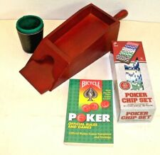 Card Dealer Shoe+ 100 11.5 G Polker Chips + Bicycle Rule Book,+ New Dice Cup