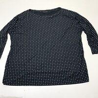 Women's Plus Size 1X / 2X J. Jill Black Printed 3/4 Sleeve Stretch Blouse Top