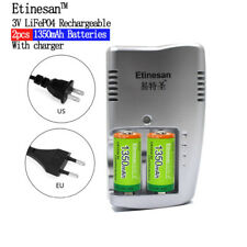 2pcs Etinesan 1350mAh 3v CR123A rechargeable LiFePO4 battery with CR123A charger