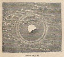 A8546 Eclisse di Luna - 1911 xilografia d'epoca - Vintage engraving