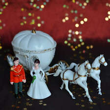 Vintage Prince Charming and Princess with Pumpkin Coach and Horses Cake Topper
