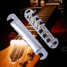 Brass Roller Saddle Tune-O-Matic Guitar Bridge & Tailpiece Set Chrome Alloy