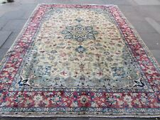 Old Hand Made Traditional Persian Rugs Oriental Wool Cream Carpet 346x259cm