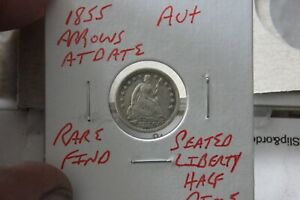 1855  ARROWS AT DATE   AU+  SEATED LIBERTY HALF DIME