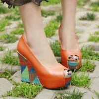 Womens Colorblock Platform Wedge High Heels Pumps Peep Toe Fashion Shoes Sandals
