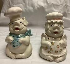 Vintage Fitz & Floyd Pig Chefs salt & pepper shakers