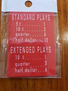 AMI JUKEBOX, H/,I/J/K RED PRICE PER PLAY TAG