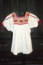 RARE 70's VINTAGE MEXICAN TOP~Thick White Cotton Needlepoint Embroidery