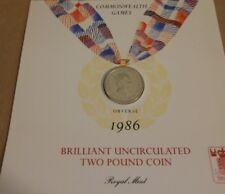 Uncirculated brillante £ 2 moneda 1986 Juegos de Commonwealth Vintage Raro