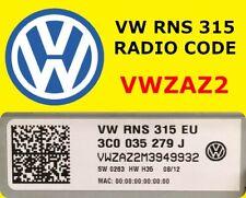 VW Radio Code Beta Gamma RNS315 RCD500 RCD310 RCD300 RCD215 RCD210 FAST SERVICE