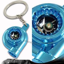 Brilliant Metallic Blue Spinning Turbo Turbine Key Chain Key Ring For MAZDA