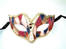 MASQUERADE CARNIVAL HEN PARTY COLORED GLITTER HARLEQUIN EYE MASK  NEW A