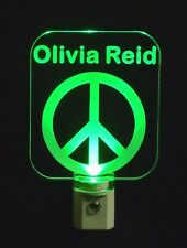 "Personalized Custom Retro Peace Sign LED Night Light -with Name  3/8"" Acrylic"