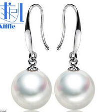 925S terling Silver 10mm White Shell Pearl Round Beads Dangle Earrings AAA