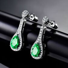 Antique Vintage Womens Silver Gold Filled Green Emerald Crystal Dangle Earrings