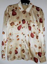 ESCADA Silk Blouse Size 4  Leopard Safari Jewels Lion Gold Brown Vintage 1980s