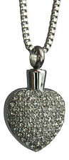 Cremation Jewellery - Memorial Ash Urn Pendant Keepsake - All Crystal Heart