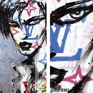 """18W""""x36H"""" DARLING by ZILON - LOUIS VUITTON FIGURE YOUNG MAN TATTOO STYLE CANVAS"""