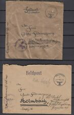 German Reich 1943 Wwii ☀ Feldpost to Kulmbach / Bayern ☀ 2v used covers