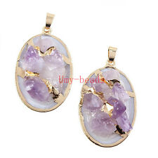 Gold Plated Natural Druzy Raw Amethyst Quartz With Shell Stone Pendant Jewelry