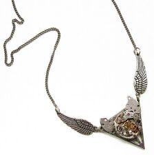 steampunk choker necklace Harry Potter Deathly Hallow watch parts wings jewelry