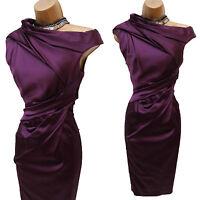 Karen Millen Purple Signature Stretch Satin Pleat Colour Block Wiggle Dress 8 UK