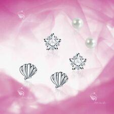 925 silver earrings set shell star pentagram pearl stud 3 pairs gift pack