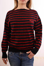 JOCKEY 80's Italy Red& Black Striped Casuals Wool Knitted Jumper M GOOD!!