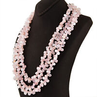 Office Wear 655.00 Cts Earth Mined Untreated Rose Quartz Beads Necklace (RS)