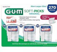 🔥 GUM Soft-Picks Sunstar 270 Picks 3 Travel Cases Rubber Bristles Tooth Picks