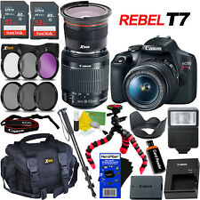 Canon DSLR Camera Rebel T7 + 18-55mm Lens + Fisheye Lens + 23pc 64GB Dlx Acc Kit