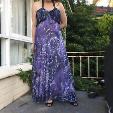 BIG CITY CHIC Plus Size M Purple Floaty Silky Maxi Halter Dress AS NEW