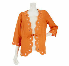 Bob Mackie Plus Size 2X Scallop Hem Embroidered Jacket with Drawstring Melon