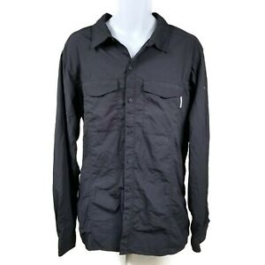 Columbia Insect Blocker Navy Blue Vented Long Sleeve Button Down Shirt Mens XL
