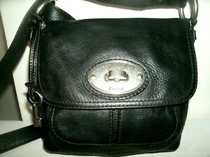 Fossil Rugged Small Black Leather Messenger Crossbody Bag Nickel Hardware EUC!