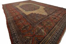 8'x11' Fine Antique Dorokhsh Rug Persian Serapi Design Carpet Beige Circa 1860