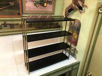 Vintage Mid Century Black Metal 3 Tier Book Utility Display Wall Shelf Unit MCM