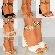 Women's Leather Block High Heels